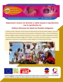 Boletin n° 3-2018: importante avance en derecho a salud sexual y reproductiva con la aprobación de política nacional de salud de pueblos indígenas