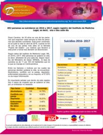 Boletin n° 1-2018: 852 personas se suicidaron en 2016 y 2017, según registro del instituto de medicina legal, es decir, una o dos cada día