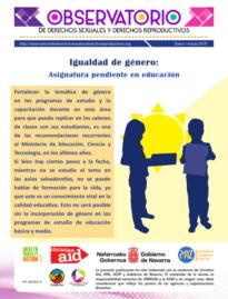 Boletin n° 1-2019: igualdad de género: asignatura pendiente en educación