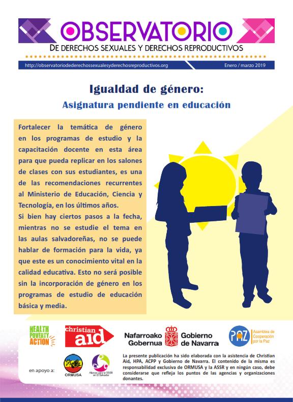 Lee más sobre el artículo Boletin n° 1-2019: igualdad de género: asignatura pendiente en educación