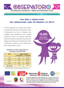 Boletin n° 4-2018: una niña o adolescente fue embarazada cada 30 minutos en 2018