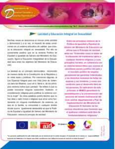 Boletin n°5: laicidad y educacion integral en sexualidad