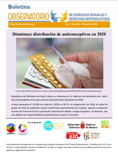 Lee más sobre el artículo Boletin n° 4-2020 Disminuye distribución de anticonceptivos en 2020